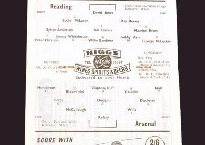 Reading v Arsenal 01.12.1958 - (Friendly)