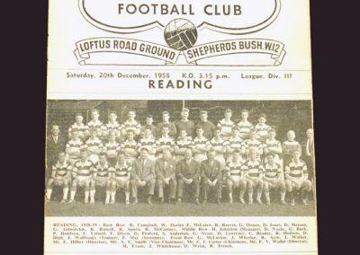 QPR v Reading 20.12.1958