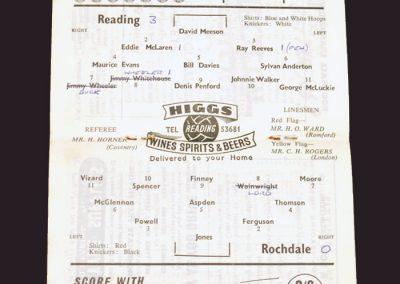Reading v Rochdale 03.01.1959