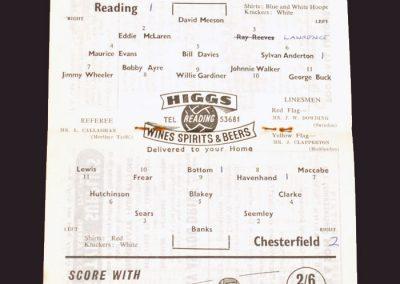 Reading v Chesterfield 24.01.1959