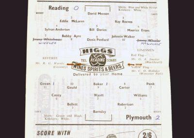 Reading v Plymouth 31.01.1959