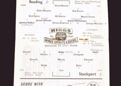 Reading v Stockport 14.02.1959