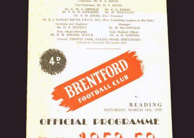 Brentford v Reading 14.03.1959