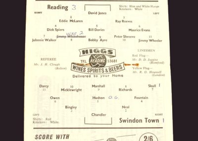 Reading v Swindon 21.03.1959