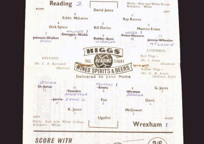 Reading v Wrexham 30.03.1959