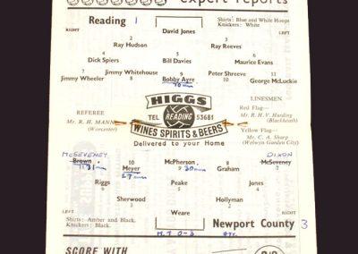 Reading v Newport County 18.04.1959
