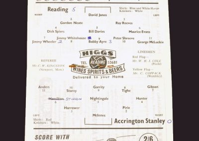 Reading v Accrington Stanley 29.04.1959