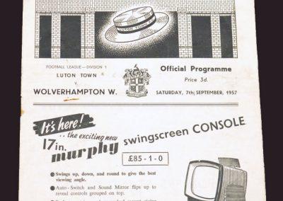 Luton v Wolves 07.09.1957