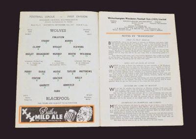Wolves v Blackpool 14.09.1957