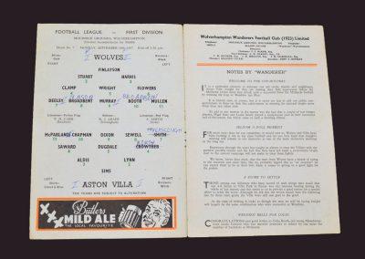 Wolves v Aston Villa 16.09.1957