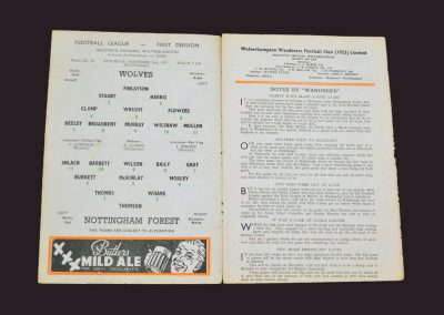 Wolves v Notts Forest 02.11.1957