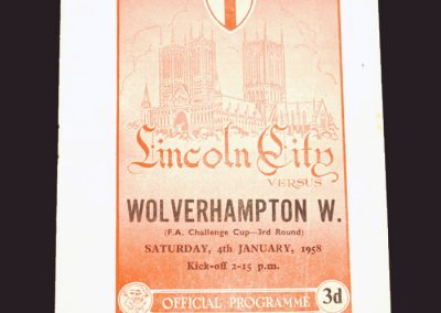 Lincoln City v Wolves 04.01.1958 - FA Cup 3rd Round