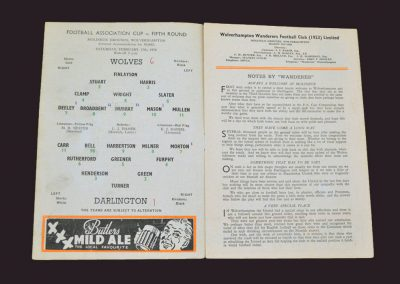 Wolves v Darlington 15.02.1958 - FA Cup 5th Round