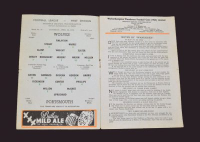 Wolves v Portsmouth 05.04.1958